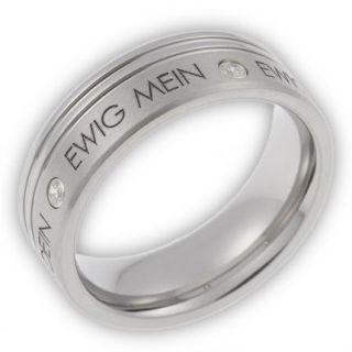 Damen Ring aus Edelstahl mit Zirkonia & Gravur ewig dein, ewig mein