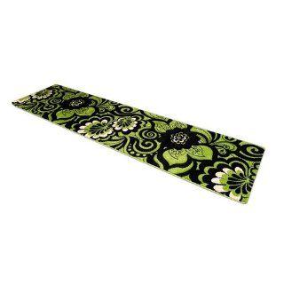 Teppich Läufer Lano Blumen grün / schwarz in 80 x 300 cm