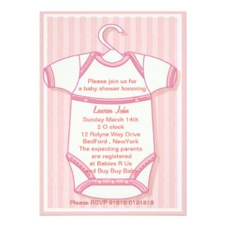 Pink baby gro baby shower invitation