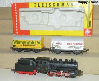 3x Fleischmann / Dampflok 4125 Lok 25 + 5042 + 5041 Güterwagen H0 tlw