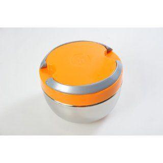 Tetra runde Lunchbox aus Edelstahl, mit orangem Deckel (STXC1300ml DE)