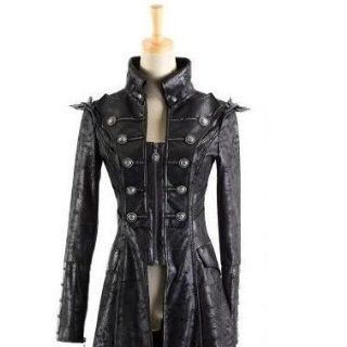 Coat Jacke Mantel Larp Visual Kei Punk Rave Rock Gothic Leder Schwarz