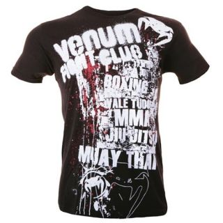 Venum T Shirt Fight Club MMA Boxing Muay Thai Jiu Jitsu schwarz weiß