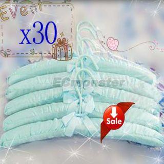 Practical 30pcs Sky Blue Satin Padded Coat Clothes Hook Hangers