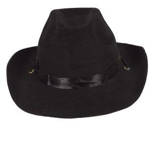 Black Felt Satin Band Cowboy Villain Outlaw Stetson Accessory Hat