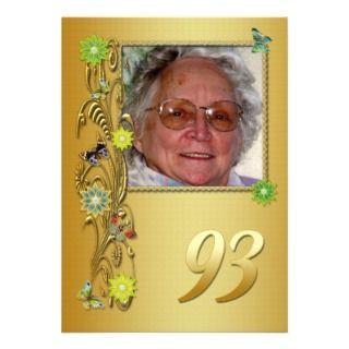 Golden Garden 93rd Birthday party invitation