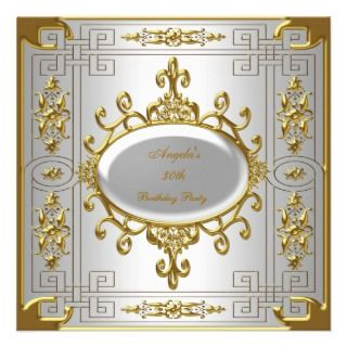 Birthday Party Royal Silver White Gold Art Deco Invites