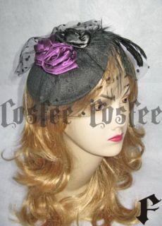 Gothic Lolita kopfschmuck schwarz lila Schleife Hochzei
