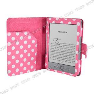 Polka Dot Kunstleder Tasche Case Hülle Cover Etui f.  Kindle 4