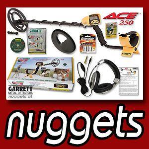 GARRETT ACE 250 Metalldetektor NEU mit SpulenSchutz + Kopfhörer