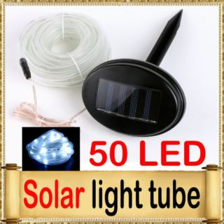 Solar Power 50 White LED Light Tube Rope Outdoor Indoor