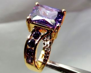 10 kt/466° GELB GOLD FILLED RING AMETHYST VIOLETT 5,63 gr