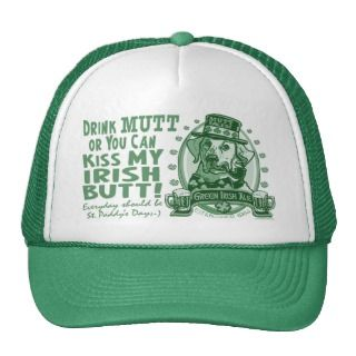 Mutt Faced Green Irish Ale Beer Logo Gifts Hat