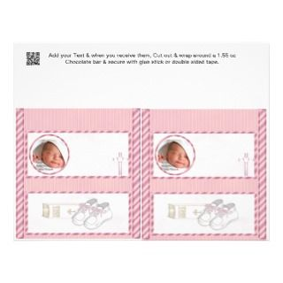 Pink Baby shower Candy Bar Wrappers Party Favors Full Color Flyer