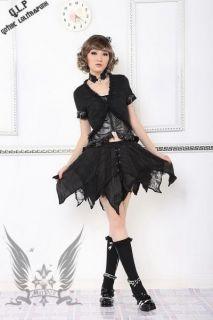 Gothic Lolita Damen Bluse Top schwarz Jacke NEU