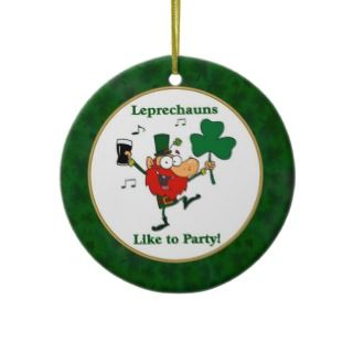 Funny Irish Leprechaun & shamrock Ornament