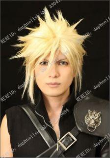 Cloud Strife Final Fantasy VII Short Mens Blonde Halloween Cosplay