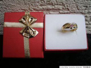 Rubin Ring Gold 333 mit Diamant 0,005 carat 1,9 Gramm