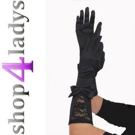 Satin Spitzen Handschuhe schwarz lang Gothic 514