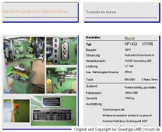 Vertikal Nuten Fräsmaschine Fabr. Busch NF1/Q2 max. 25mm Fräser