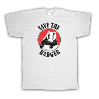 SAVE THE BADGER WILDLIFE RETRO STYLE PROTEST T SHIRT ALL COLOURS AND