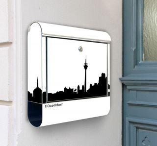 NEU Briefkasten 100% Edelstahl mit Motiv Skyline Düsseldorf Exclusiv