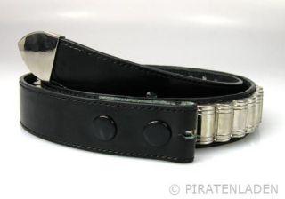 Schwarzer Buckle Gürtel als Patronengurt, Bullets, S XL