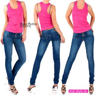 Skinny HÜFTJEANS Jeans RÖHRENJENAS STRETCH Hose BLAU NEU #545