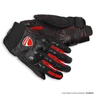 DUCATI FLOW Sommer Handschuhe Leder Textil Gloves schwarz rot NEU 2012