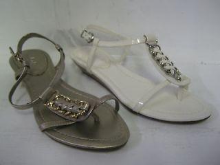 Ladies Clarks sandals Santa Cruz white patent or metallic leather SALE