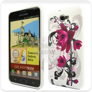 PURPLE FLOWER GEL CASE COVER FOR THE SAMSUNG GALAXY NOTE i9220 / GT