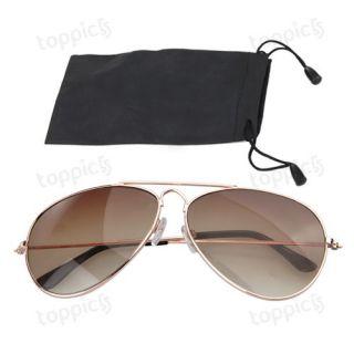 Mens Womens Gold Frame Brown lens Aviator Sunglasses