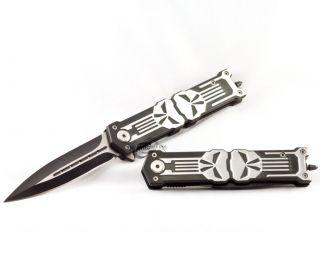TWO 8.25 PUNISHER STILETTO SPRING ASSISTED KNIFE Folding Blade Pocket