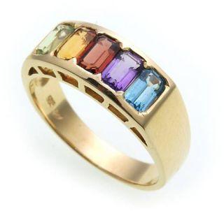 Damen Ring echte Edelsteine Gold 585 Regenbogen