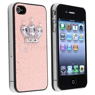 Light Pink Glitter Crown Rear Hard Case Cover+Front Back Guard For