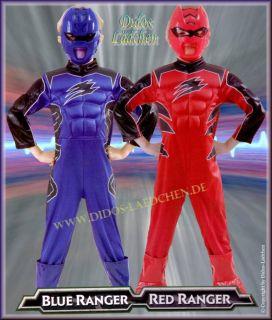 Karneval Kinder Kostüm Power Rangers Blau. Rot. ver grössen S.M.L 10