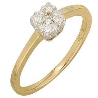Diamantring Ring mit Brillanten, 585 Gold, Gelbgold, Fingerschmuck