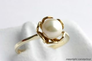 Perlenring in 14 kt. 585 Gold Ring mit Perle