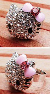 Hello Kitty Strass Ring Kitsch Groß Trendy Emo Rockabilly Steinchen