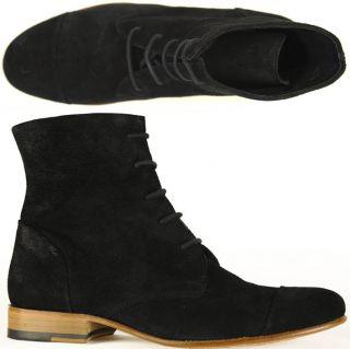 Mentor Schnürstiefel W6374 laced ankle boot black suede schwarz alle
