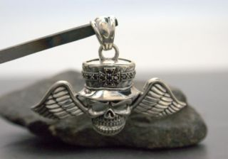 Gigant Anhänger Skull Totenkopf Flying Rocker Biker in Sterling