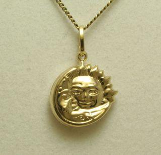 Anhänger 585 14 kt. Gold Gelbgold Sonne Mond Sterne