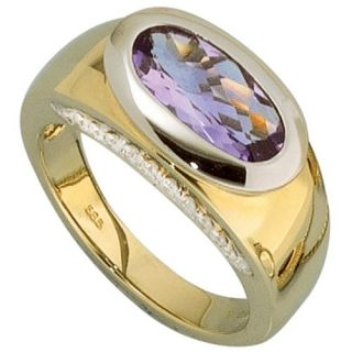Amethyst & 11 Diamanten Brillanten, 585 Gold, violett, Goldring, Damen