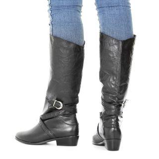 Stiefel Damen Flach Reitstiefel Biker Stil Knitterlook Schwarz