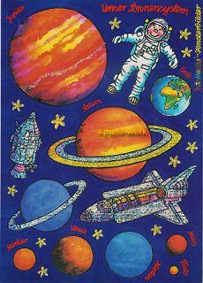 Lutz Mauder Glitzer Fensterbild Planeten Rakete Mond A4