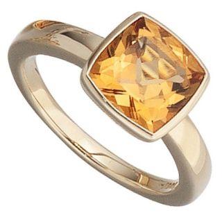 Goldring mit Citrin gelb orange & 585 Gold, Fingerschmuck, Damen