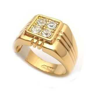 Herren Damen Ring Herrenring Gold 18 KGP Zirkonia Gr.20; Gr.21