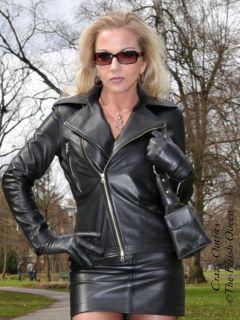 Luxus Domina Leder Biker Jacke Lederjacke Schwarz Maßanfertigung