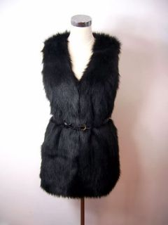 2011 New fashion Women Vintage Trend Celeb Black Faux Fur Long Vest