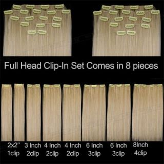 Pcs 22 #613 Bleach Blonde Full Head Clip In Synthetic Fiber Hair
